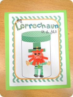 Leprechaun in a Jar craft with 3 accompanying choices of writing prompts!  CUTE!