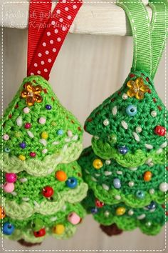 Crochet Pattern Christmas Tree Ornament by beatakapturdesigns