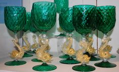 Glass Murano Dolphin Goblets, Antique