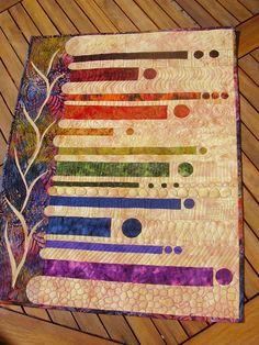 Rainbow Batik art quilt....Really Cool Quilt!!