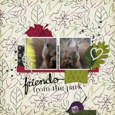 Friends From The Park. This digital scrapbooking page was created using Thankful by Sharon at Pixel Scrapper
