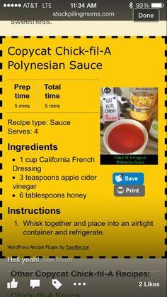 Chick fil a Polynesian sauce