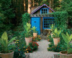 storage spaces, colors, paint schemes, cabins, sheds, gardens, gardening, pergola, blues