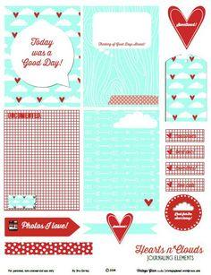 Free Hearts n Clouds Printables from Vintage Glam Studio