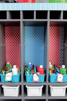 Kids craft things, their own personal cubby for their things