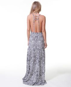 Golden Coast Maxi Dress with multi strap back detail.