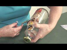 Garrafas de vidro com decoupage e craquelê - Reciclar com Arte - YouTube