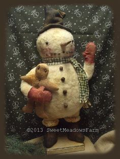 Chubby Primitive Standing Round Snowman Doll Pattern $9.00