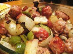 Roasted Potatoes, Bell Peppers, Onions & Sausage - from Skinny Taste
