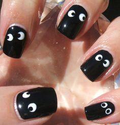 googly eyes, nail designs, nail art designs, manicur, nail art ideas, nail arts, black nails, halloween nail art, halloween nails