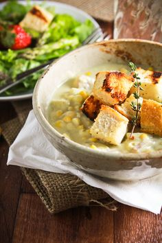 Creamy vegan corn chowder, looks awesome