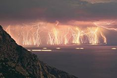 Photographer's Description: Fire in the sky! This is an image sequence containing 70 lightning shots, taken at Ikaria island during a severe thunderstorm.