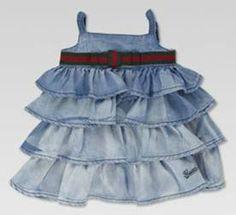Gucci working the denim ruffles! cowgirl boots, gucci, babi dress, blue, dresses, babi girl, denim dress, baby girls, kid