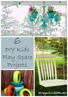 6 DIY Outdoor play space ideas for any backyard!  Amazing projects and ideas to beautify your outdoor play space, and create amazing outdoor play spaces for kids!