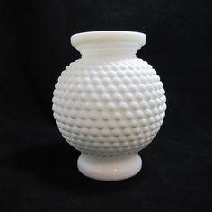 Vintage Rounded Hobnail Milk Glass Vase $16.00