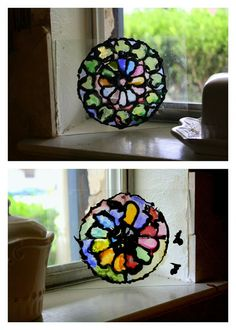 Having Fun at Home- Easy and beautiful Cathedral-style rose window craft for kids