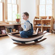 Maine Dory Rocking Boat via thefancy: Made by a former fisherman with lap joint construction. #Rocking_Boat #Kids #thefancy
