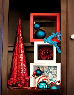 red + white + turquoise Christmas Decor / Decorations
