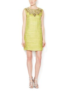 Embellished Metallic Weave Shift Dress from Designer Eveningwear Feat. Marchesa Couture on Gilt