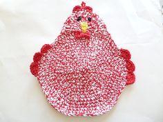 Red & White Crocheted Chicken Pot Holder/Hot Pads by ACozyCrochet, $16.00