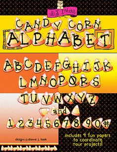 DJ's 'Candy Corn Alphabet' download is sure to make your Halloween projects SWEET with smiles! Add this treat to your basket and enjoy a 25% discount! Limited time only!! (Sale ends 9/17/14)