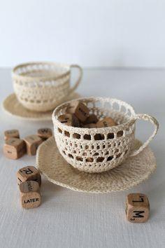 Crochet Tea Cup Sculpture Art Cream Handmade by creativecarmelina
