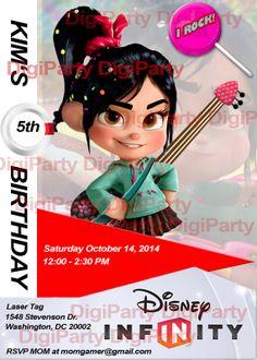 Vanellope WreckItRalph Girl Birthday Invitation by DigiParty, $9.99