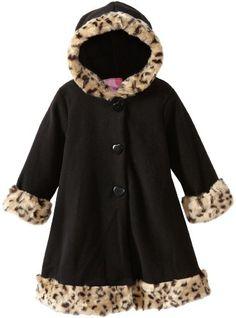Good Lad Girls 2-6X Toddlers Fleece Coat With Hood Fur Leopard Trim - List price: $54.00 Price: $15.75 Saving: $38.25 (71%)