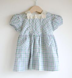 Vintage 1940's Baby Girl Dress  PLAID and EYELET