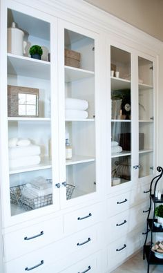 built-in bathroom cabinet...love this