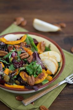 "ROASTED FALL VEGETABLES SALAD WITH MAPLE ORANGE CINNAMON DRESSING - Gluten Free, Vegan, Vegetarian, Healthy -  										 											 											 									 										 										 										 									  Recipe: ROASTED FALL VEGETABLES SALAD WITH MAPLE ORANGE CINNAMON DRESSING A gorgeous, colorful, and delicious salad with crunchy, tangy, sweet in every bite. #vegan, #vegetarian, #gluten free, and #healthy.  Ingredients  1 small butternut squash, peeled and chopped into ½"" cu"