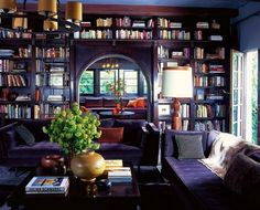 Moody reading room. The sofas look inviting.