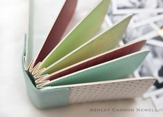 Mini album: create an accordion book format where you score cardstock at periodic points and attach each page to each of the accordion folded cardstock. This technique allows you to be able to flip through the mini album like a bound book.