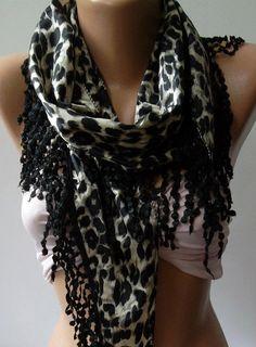 Elegance  shawl / scarf with lacy edge black  leopard by womann, $19.00