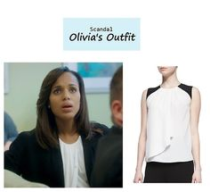 "On the blog: Olivia Pope's (Kerry Washington) colorblock silk draped blouse | Scandal - ""The Price of Free and Fair Election"" (Ep. 318) #tvstyle #tvfashion #outfits #fashion #gladiators"