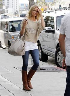beige sweater, white tee, jeans and brown boots