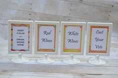 Set of 4 Wine Tasting Signs for Party or Bar