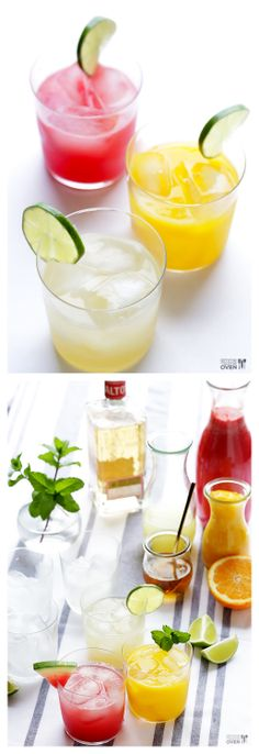 DIY Skinny Margaritas -- learn how to create a fun and easy DIY margarita bar for entertaining with our fresh and lower-calorie recipe! gimmesomeoven.com #drinks #cocktail
