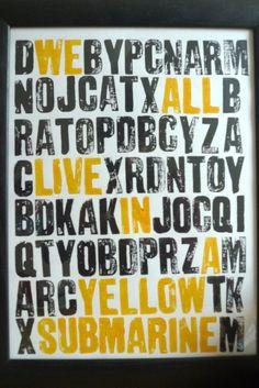 Yellow Submarine letterpress art