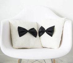 diy ideas, white design, bow ties, white rooms, bow cushion, bows, dorm rooms, throw pillows, black