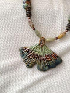 Gingko Leaf Pendant.  Clay.