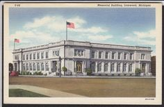 Ironwood-MI-Memorial Building-Vintage Linen Postcard   eBay
