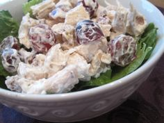 yummy chicken salad recipe, except I think I'd leave small walnuts in bigger pieces.