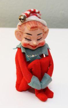 Vintage Knee Hugger Elf Felt Christmas