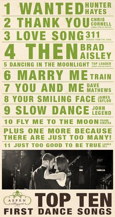 Top Ten First Dance Songs -- Wanted by Hunter Hayes, Thank You, Love Song by 311, Then by Brad Paisley, Dancing in the Moment, Marry Me by Train, You and Me by Dave Matthews, Your Smiling Face, Slow Dance, Fly Me to the Moon, Just Too Good to Be True.