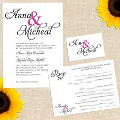 Touch of Color Wedding Invitation with Mad Lib Response Card