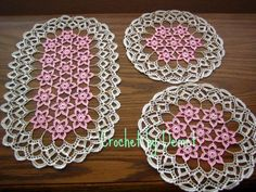 BEAUTIFUL 3 PIECES HAND CROCHETED THREAD DOILY SETOVAL by DEMET, $70.00