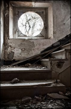 In an old abandoned hospital.. love the window!