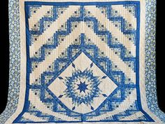 Blue Green Yellow Lone Star Log Cabin Quilt Photo 2