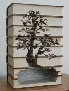 Book tree carving